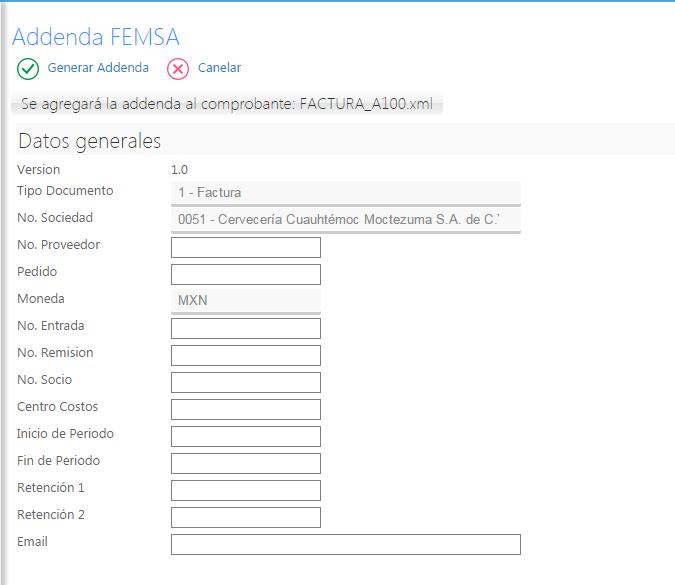 Addenda FEMSA en Factura Fácilmente