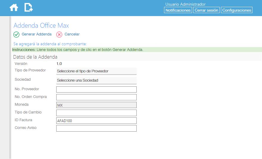 Addenda OfficeMax en Facturafacilmente