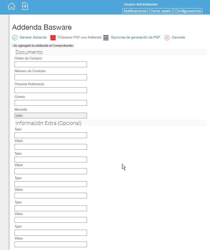 Addenda Basware (Tyco) en Facturafacilmente
