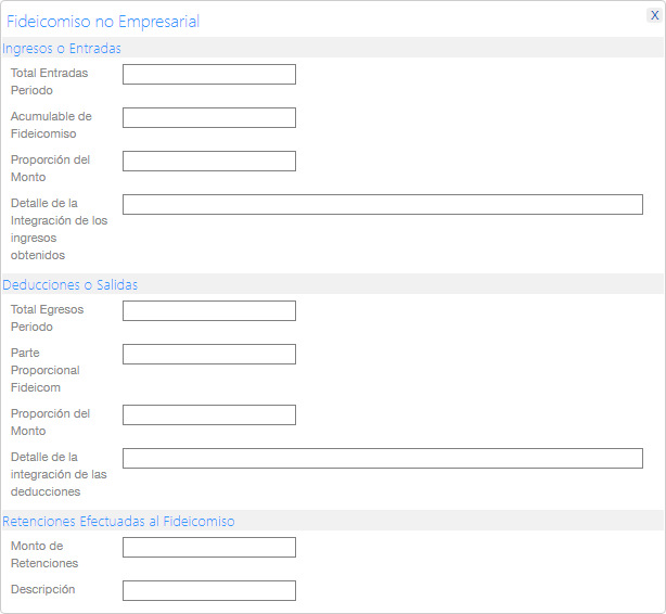 Complemento fideicomiso no empresarial para la factura de retenciones e información de pagos